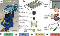 """An der Stanford Universität hat der Assistenz-Professor für Biotechnik, Ingmar Riedel-Kruse, ein innovatives Mikroskop aus dem 3D-Drucker entwickelt, das mit einem Smartphone ergänzt wird. Dieses Mikroskop trägt die Bezeichnung """"LudusScope"""", was sich vom lateinischen Wort für """"Spielen"""" bzw. """"Spiel"""""""