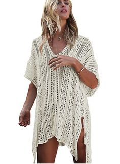 Find CASILY Women's Summer Beach Swimsuit Bikini Crochet Cover Up Dress online. Shop the latest collection of CASILY Women's Summer Beach Swimsuit Bikini Crochet Cover Up Dress from the popular stores - all in one Swimwear Cover Ups, Bikini Cover Up, Swimsuit Cover Ups, Bikini Swimsuit, Bikini Beach, Bikini Dress, Bikini Top, Grey Swimsuit, Strap Bikini