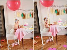 K- This is tooooo cute! I think we could do this!!! GG    Pink ombre tablecloth, pink ombre cake, so many happy touches