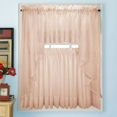 Let natural light fill your room with these Elegance Voile PINK Sheer Tier Panels. The easy care sheer fabric gives any room a light and airy feel Scarf Curtains, Drapes Curtains, Valances, Pink Sheer Curtains, Curtain Inspiration, Waterfall Valance, Voile Panels, Kitchen Window Treatments, Traditional Lighting