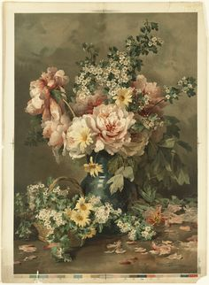 Floral by Francois Rivoire (1842-1919 ).  Chromolithograph issued 1861-1897 (approximate)by L.Prang & Co.  Boston Public Library.  Wikimedia.
