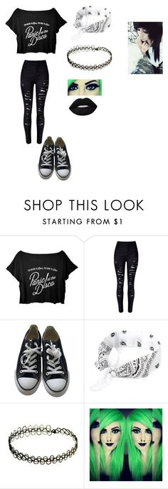 """""""Untitled #104"""" by skullgirlsrocks ❤ liked on Polyvore featuring WithChic, Converse and Lime Crime"""