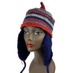 Grunge Style, Ethnic Inspired, FreeStyle Ear-Flap Hat UNISEX, Mixed Fibers #Handmade #Ski #Casual