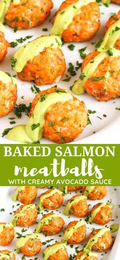 These baked salmon meatballs may be some of the best things you ve eaten in awhile 295 calories and 3 Weight Watchers SP With Avocado Sauce Low Carb Recipes Easy Healthy cleaneating salmonrecipes Easy Healthy Recipes, Low Carb Recipes, Easy Meals, Easy Healthy Appetizers, Healthy Seafood Recipes, Shellfish Recipes, Sushi Recipes, Top Recipes, Cake Recipes