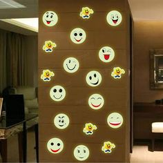 Luminous Cartoon Smiling Face Decals Wall Ceiling Glow In The Dark Smile Face Home Bedroom Decor at Banggood