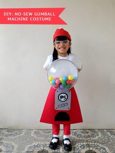 Zoë is that girl who comes up with wild costume ideas. Last Halloween, she wanted to be a cupcake. Gumball Machine Halloween Costume, Gumball Costume, Cute Halloween Costumes, Diy Costumes, Halloween Diy, Halloween Decorations, Costume Ideas, Halloween 2019, Bubble Gum Machine Costume