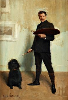 Bernhard Österman (Swedish, 1870-1938), Self-portrait with dog, undated. Panel.