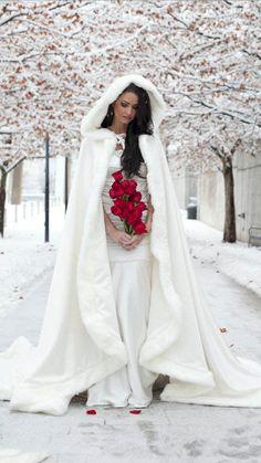 Big Train Gorgeous White/Ivory Bridal Winter Wedding Cloak Cape Faux Fur Long Train Bridal Wraps Custom Size