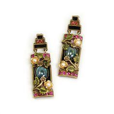 Sweet Romance Chinese Rose Screen Earrings