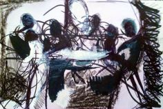 "'Meal Time.' Mixed Media On Card. 6x4""inch.#RosannaJacksonWright #Art #Drawing #MealTime #Family #Faith #Abstract #Figurative #York #England #NYC #USA #Genoa #Italy #Mexico"