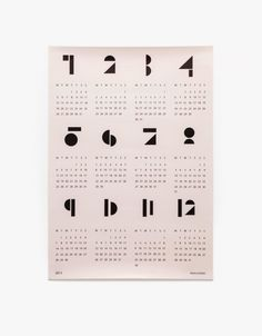 2017 wall calendar from Snug Studio. Available in White, Blue, Pink or Light Grey. Modern, geometric design presents entire calendar year at a glance. Printed on matte paper in format. Diy Kalender, Kalender Design, Snug Studio, Design Online Shop, Cadeau Design, Geometric Type, Miss Moss, 2016 Calendar, Calendar Time