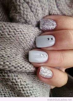 Chic and simple grey nail art design with glitter and diamonds: