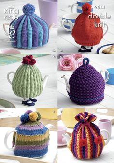 Tea Cosies in King Cole Merino Blend DK - 9014. Discover more Patterns by King Cole at LoveKnitting. The world's largest range of knitting supplies - we stock patterns, yarn, needles and books from all of your favourite brands.
