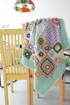 Pretty granny square blanket