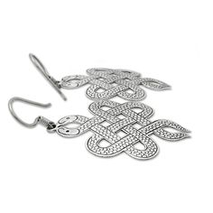 Nepalese Earrings representing snakes woven in a Buddhist endless knot