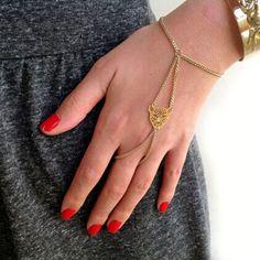 Retro gold leopard Bracelet Slave Hand Chain Finger Ring Jewellery boho gift uk  | eBay