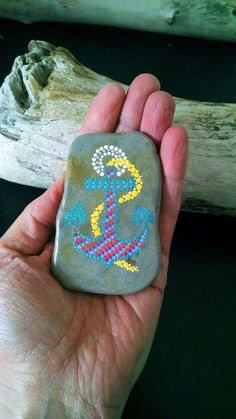 Magnet ~ Hand Painted Rock ~ Anchors Away ~ Nautical ~ Coastal ~ Rainbow Dot Art Beach Stone ~Mini Art ~ Fridge Love ~ Home Decor ~ Stone