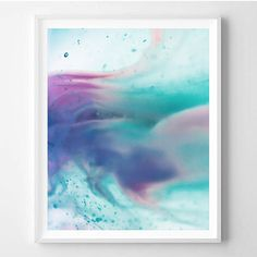 Abstract art Pink Blue Violet Water Minimal Art by WallArt2Decor