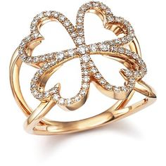 Diamond Four Leaf Clover Ring in 14K Rose Gold, .35 ct. t.w. (€1.385) ❤ liked on Polyvore featuring jewelry, rings, rose, 14 karat gold ring, 14k ring, glitter rings, rose gold jewelry and rose gold pave diamond ring