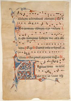 Manuscript leaf from an antiphonary Date: 14th century Geography: Made in, Bologna (?), Italy Culture: Italian Medium: Parchment, tempera, ink, silver leaf Dimensions: Overall: 20 5/16 x 14 in. (51.6 x 35.6 cm) letter: 4 x 4 1/2 in. (10.2 x 11.5 cm) Mat size: 29 x 23 1/16 in. (73.6 x 58.5 cm) Classification: Manuscripts & Illuminations