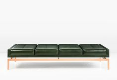 Olivera Chaise Longue or Daybed or Bench with Green Leather and Copper Base image 2 Bench Furniture, Furniture Design, Sofa Design, Interior Design, Modern Daybed, Ottoman Bench, Upholstered Bench, Sofa Chair, Green Leather