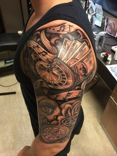 Time Is Money Tattoo Designs For Men Half sleeve tattoos for men . Half Sleeve Tattoos For Guys, Best Sleeve Tattoos, Tattoo Sleeve Designs, Star Tattoos, Cool Tattoos, Tattoo Sleeves, Craziest Tattoos, Payasa Tattoo, Poker Tattoo
