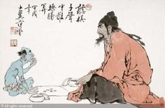 Zhong Qui and ghost playing chess.