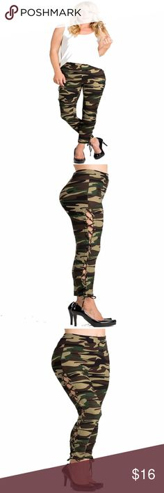 Camo Leggings New Rise Leggings With Side Eyelet Lace Up.  Fabric 92% Polyester 8% Spandex Pants Leggings