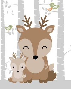 Engravings of animal nursery, forest nursery, forest nursery decor, nursery art forrest Deer Nursery, Woodland Nursery Prints, Forest Nursery, Animal Nursery, Nursery Art, Woodland Animals, Cute Illustration, Cute Drawings, Clip Art