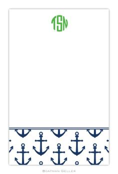 Pea Pod Paper and Gifts Anchors Navy Notepad Set - Office Collection - Gifts