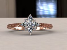 Gold and diamond star engagement ring. $2,700.00, via Etsy.