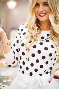 Polka Dot Sweater - this looks perfect! Some polka dot tops look cheap or tacky, but the size of dots and spacing on this one are perfect!