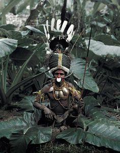 Man from Simbai, Madang Province of Papua New Guinea. The Simbai men are known for their alien-like headdress made from hundreds of green beetles. #PapuaNewGuinea #culture