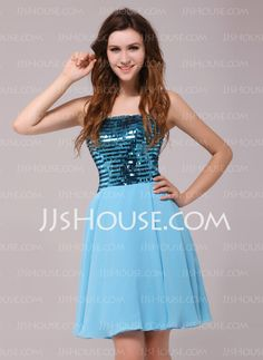 Cocktail Dresses - $124.99 - A-Line/Princess Strapless Short/Mini Chiffon Sequined Cocktail Dresses (016013982) http://jjshouse.com/A-Line-Princess-Strapless-Short-Mini-Chiffon-Sequined-Cocktail-Dresses-016013982-g13982