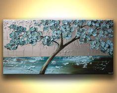 Florece el árbol pintura verde azulado, azul, plata Original moderno fino arte abstracto texturado paisaje por Osnat - confeccionar - 48