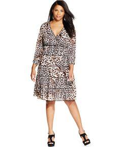 bc7e9b93a46 Plus Size Tiered Animal-Print Dress - Plus Size Fashion Animal Print Dresses