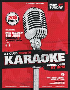 Karaoke Flyer Template by Alex Zeppelin, via Behance Karaoke Party, Dj Party, Karting, Contract Design, Thing 1, Event Flyers, Stand Up Comedy, Special Guest, Flyer Template