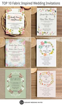 "top 10 fabric inspired floral wedding invitations as low as $0.94// Use coupon code ""CVB"" to get 10% off towards all the invitations. #elegantweddinginvites"