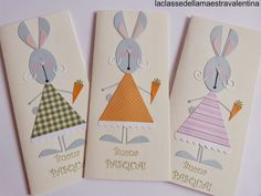 Care creative, dopo galline, colombe e pulcini, non potevano mancare i coniglietti. Conigliette in realtà... e molto eleganti.   A presto. Maestra Valentina
