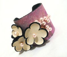 35 OFF Sale Floral cuff bracelet Leather bracelet by julishland, $18.85