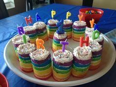 Rainbow individual cakes