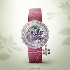 SIHH 2015 - The Poetry of Time™ by Van Cleef & Arpels - Charms Extraordinaire Langage des Fleurs - Désir watch Expressing all the desire of a new romance, this watch is adorned with lilac – synonymous with young love – and crocuses blooming on the dial thanks to cabochonné enamel work. - Dial: mother-of-pearl, white gold, miniature painting in volume, miniature painting on sculpted mother-of-pearl, cabochonné enamel, pink sapphires, amethysts, yellow gold - Quartz movement