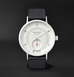 NOMOS Glashütte - Autobahn Neomatik Datum Automatic Stainless Steel and Nylon Watch Cheap Watches For Men, Stylish Watches, Luxury Watches For Men, Cool Watches, Gps Watches, Analog Watches, Elegant Watches, Casual Watches, Audemars Piguet