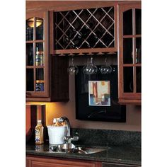 Omega National Cabinet Mount Wine Lattice 28 Bottle Capacity 24 inch W x 43 inch H Red Oak Unfinished Wood -- Click image for more details. (This is an affiliate link) Oak Kitchen Cabinets, Wine Cabinets, Wet Bar Cabinets, Kitchen Wood, Kitchen Cart, Diy Kitchen, Kitchen Island, Kitchen Design, Wine Rack Cabinet