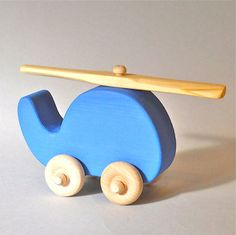 Bright Blue Wooden Helicopter Toy waldorf pretend by 2HeartsDesire, $7.50