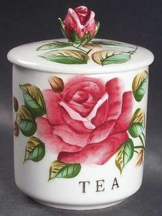 A rose canister for tea.