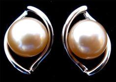 Genuine Pearl Sterling Silver Pierced Estate Earrings Vintage | eBay