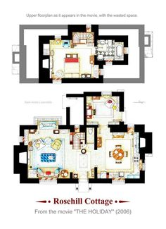 """· Floorplans of the """"Rosehill Cottage"""" from """"THE HOLIDAY"""" Poster Version with the upper floorplan re-imagined. real cottage was in f. Rosehill Cottage from THE HOLIDAY Poster Version B Style Cottage, English Cottage Style, Cottage Plan, English Cottages, Tiny Cottage Floor Plans, Cottage Door, Country Cottages, French Country, The Plan"""