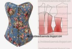 Billedresultat for moldes corset para vestidos 15 Motif Corset, Corset Sewing Pattern, Dress Sewing Patterns, Clothing Patterns, Diy Clothing, Sewing Clothes, Doll Clothes, Fashion Sewing, Diy Fashion