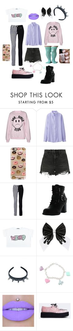 """Soft Grunge"" by bandumb ❤ liked on Polyvore featuring Uniqlo, OPI, Casetify, Alexander Wang, Betani, Funk Plus, Sterling Essentials, T.U.K., grunge and pastel"